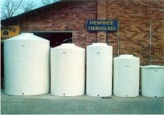Various sizes of fibreglass water tanks