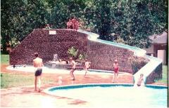 Swimming pool slide made of fibreglass