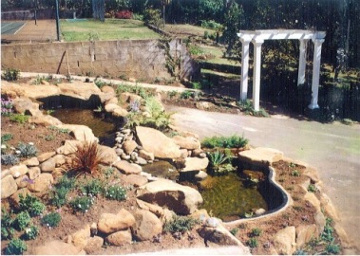 Completed landscaping with ponds