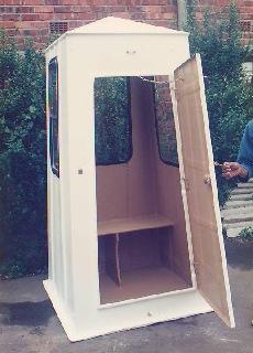 Fibreglass guard house with door open